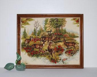 Vintage Deer in Forest Wall Hanging