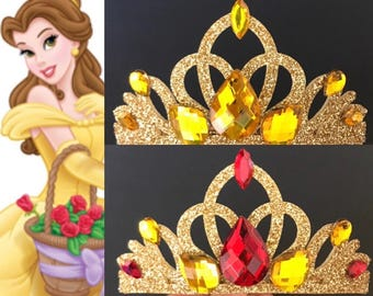Belle Crown,Disney Belle,Belle crown Headband,Belle Elastic Headband,Beauty and the beast theme,Beauty and the beast crown,Belle theme,crown