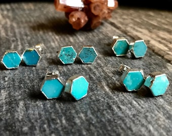 Turquoise Studs Earrings,Stud Earrings,Turquoise Earrings Silver,Hexagon Studs ,Turquoise Studs,Turquoise, Earrings,Turquoise Jewelry,Studs