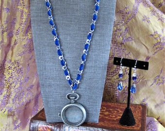 Royal Blue watch locket and earring set