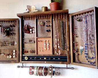 Jewelry cabinet. earrings closet with shelf. Dark WALNUT jewelry storage.Wooden wall mounted earring organizer. Jewelry armoire.