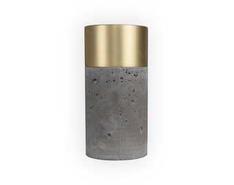 Dark Concrete Vase with Brushed Brass and Removable Glass