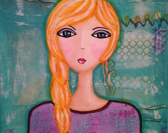 "Original Mixed Media on 9x12 Canvas - Painting Home Decor Artwork - Folk Art - ""Abbie Girl"""