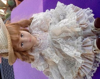 Cloth body Doll. Handmade. Cloth Over face/hands Forms. Dress, Penafore, Button Shoes, Stockings, Pantaloons. Part of Gift Showcase.Tags