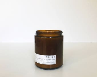 Soy Candle / No. 09 /  Vetiver. Lavender. Rosemary.   /  8 oz Soy Wax Candle / Hand Poured / Scented Soy Wax / Amber Jar /