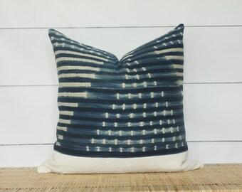 Mudcloth + Indigo Pillow Cover   22x22   No500
