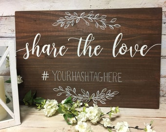 Social Media Wedding Sign | Custom Hashtag | Custom Color and font Options Available