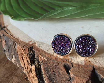 violet and blue druzy stud earrings, gift for her