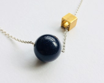 Blue Goldstone Necklace - Midnight Blue Goldstone Necklace -Midnight Sky Sandstone Necklace