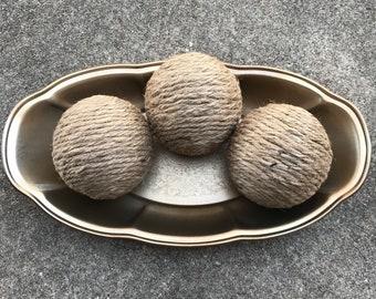 Jute Decorative Balls;  Jute-Wrapped Decorative Balls; Decorative Twine Balls; Twine Balls