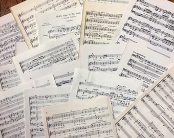 Bundle of Vintage Hymnal Music Sheet Pages ~ 20 Pieces ~ Vintage Ephemera ~ Music Sheets ~1902-1960