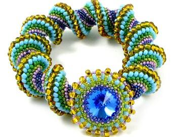 Big Sky Cellini Spiral Bead Weaving Bracelet Instant Download Pattern