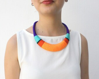 Violet necklace, Orange Necklace, Statement Necklace, Textile Jewelry, Fashion Jewelry, Handmade Necklace, gift for her, colorful necklace