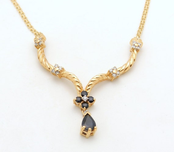 """SALE Diamond and Sapphire Necklace Lariat Pear Drop Pendant 14K Yellow Gold 19"""" Chain"""