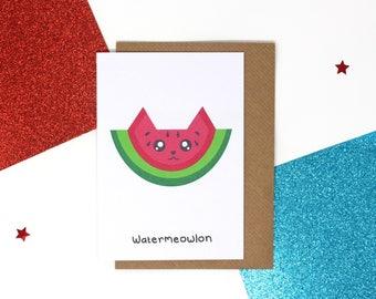Funny watermelon cat card, cat birthday card, watermelon birthday card, funny birthday card, cute card, cute card, funny card, Watermeowlon