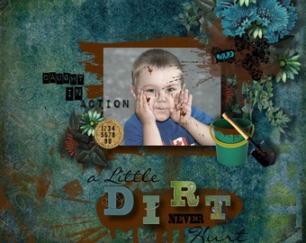 A Little Dirt - Boys scrapbook kit with mud and dirt theme 18 digital scrapbooking Papers & 89 embellishments