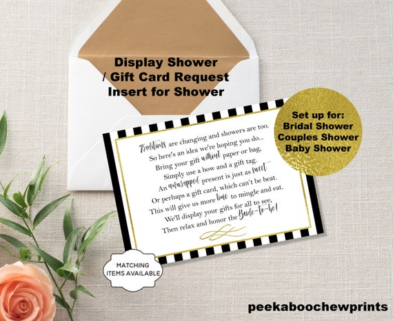 Display Shower / Gift Card Unwrapped Gift Request Poem Insert