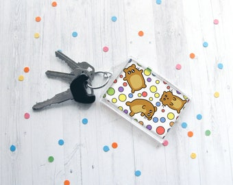 Cute Hamster Keychain, Funny Hamsters, Silly Ham, Colorful Keychain, Fun Accessory, Key Ring, Hamster Lover, Hamster Gift