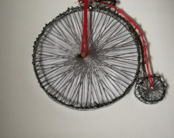 String art Penny Farthing, wall hanging