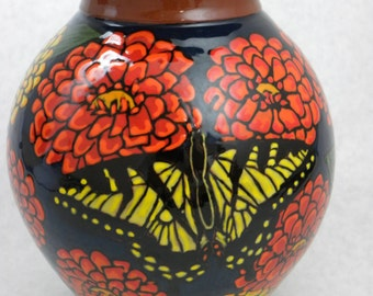 Pottery Vase, Dahlias with Butterflies (Item#45)