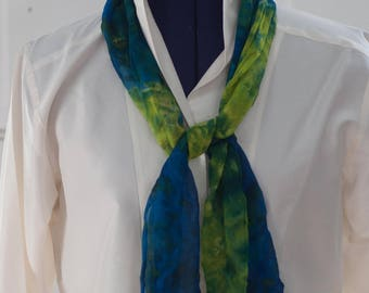 Silk Shibori Scarf - Hand Dyed Silk Scarf - Green and  Blue - Gift for Her
