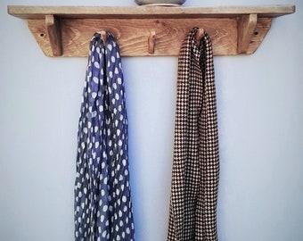 wood wall shelf with hooks, pale wood, eco friendly, 3 upcycled coat-hanger hooks, - custom sizes - rustic farmhouse style from Somerset UK