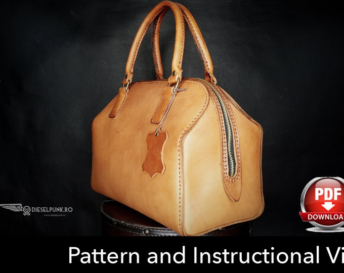 Bag Pattern - Leather DIY - Pdf Download - Leather Pattern - Doctor Bag Pattern - Boston Bag Pattern
