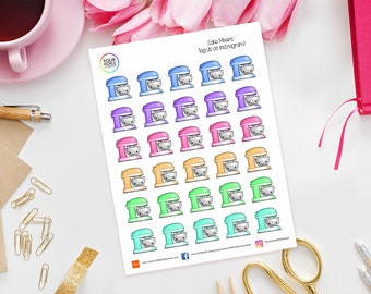 Cake Mixers Planner Stickers for use with Erin Condren Life Planner, Kikki K, Happy Planner, TN, Filofax, Recollections, Baking, Bake