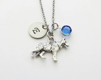 German Shepherd Necklace Pewter Dog Necklace Animal Dog Lover Gift Swarovski Birthstone Personalized Monogram Silver Hand Stamped Initial
