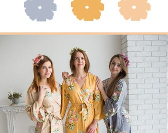 Gray, Champagne and Mustard Gold Wedding Color Bridesmaids Robes - Premium Soft Rayon - Wider Belt and Lapels - Wider Kimono sleeves