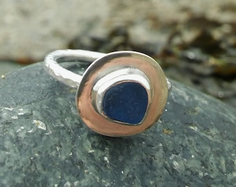 Sea Glass ring, Blue Sea glass ring, Sterling Silver Sea glass ring, UK K, US 5 1/8  Silver ring, Sea glass jewellery, Bridesmaid gift.