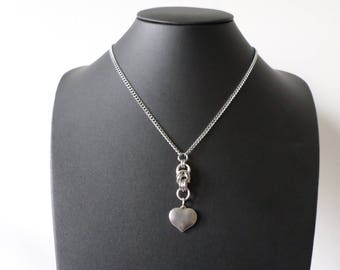 Stainless Steel Heart Pendant Necklace - Chainmail Heart Jewelry