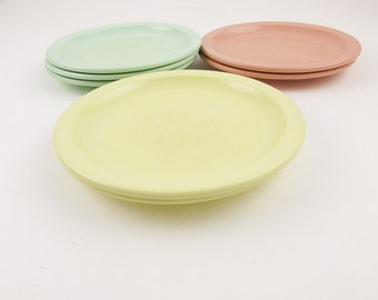 Six, Super-cool RivieraWare by Melmac - Six Salad Plates Two Each Salmon Pink, Buttercup Yellow and Mint Green