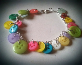 Button Charm Bracelet - Bright Colours / Multicoloured
