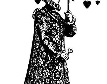 EZ Mounted Rubber Stamp Avant Garde Man under Umbrella with Hearts Altered Art Craft Scrapbooking Cardmaking Collage Supply.