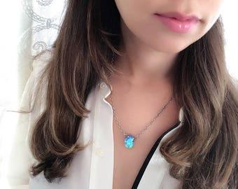 Swarovski Blue AB Crystal Necklace