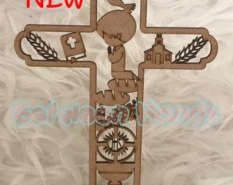 12 First Communion cross, First Communion Boy, First Communion,  wooden hanging cross, First Communion Keepsakes, keepsake first communion