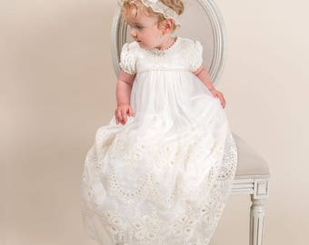 Clementine Christening Gown, Girls Baptism Gown, Lace Baptism & Blessing Gowns