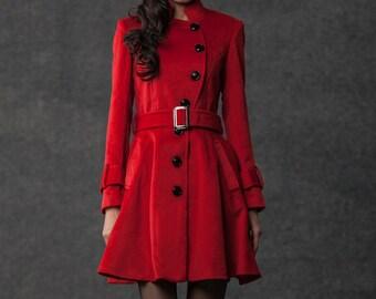 Red coat, kate middleton coat, pea coat, coat, jacket, winter coat, wool coat, womens jackets, womens coats, coats, jackets  C797