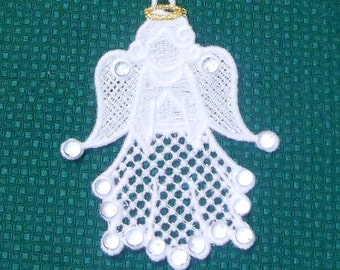Lace Applique for Crafts or Crazy Quilt - Angel with Swarovski Crystals