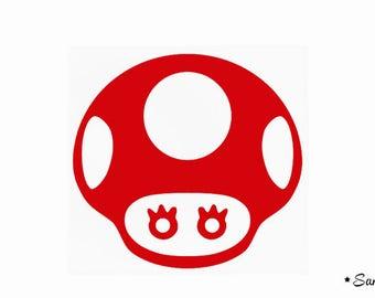 applique kawaii Mushroom Red flex fusible