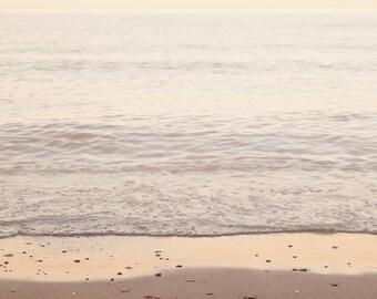 Beach photography. Oversized coastal decor. Summer beachy boho art. Neutral tone surf decor. Large landscape photograph. Lake Erie photo.