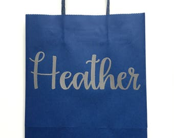 Personalized Gift Bags, Bridesmaid Gift Bags, Thank You, Welcome, Wedding Gift Bags, Party Bags, Bachelorette Gift Bags, Navy Blue Gift Bags