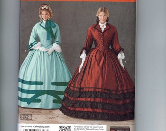 Misses Sewing Pattern Simplicity 1818 Misses Victorian Civil War 1860s Dress Crinoline Costume Historical Size 8-14 or 16-24 UNCUT