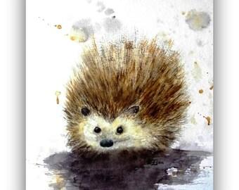 Original Painting - Watercolor - unique - Hedgehog - Size 30x40 cm