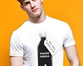 Brainwash! Mass Media: Do Not Swallow Funny Graphic Political T-shirt