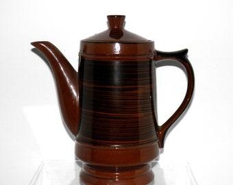 Vintage Brown Stoneware Pottery Teapot Coffee Pot