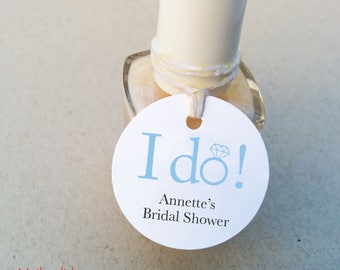 Bridal Shower personalized tags - I DO Mini nail polish tags - Wedding favor tags - Bachelorette round gift tags (C-08)