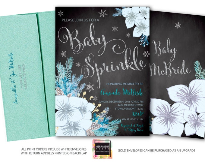 Winter Baby Sprinkle Invitation / Snowflake Baby Sprinkle / Winter Baby Sprinkle / Oh Baby / Blue / Holiday / Silver / VERMONT COLLECTION
