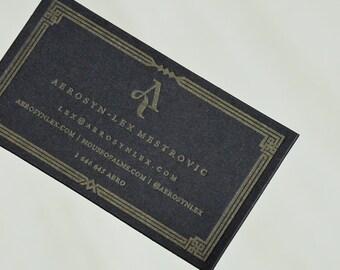 100 Black Letterpress Business Cards - 1 color 1 side